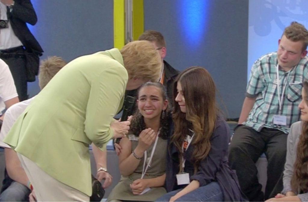 Die Begegnung Merkels mit dem Flüchtlingsmädchen Reem hat für viel Aufsehen gesorgt. Foto: NDR