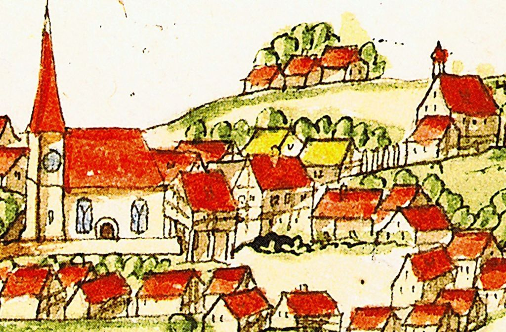 """Die """"Kieserschen Ortsansichten""""  – hier ein Ausschnitt von  Rommelshausen – sind  oft die frühesten bildlichen Ansichten der Städte und  Dörfer des Herzogtums Württemberg.   Sie stammen aus der Zeit etwa von 1680 bis 1690. Foto: Hauptstaatsarchiv Stuttgart"""