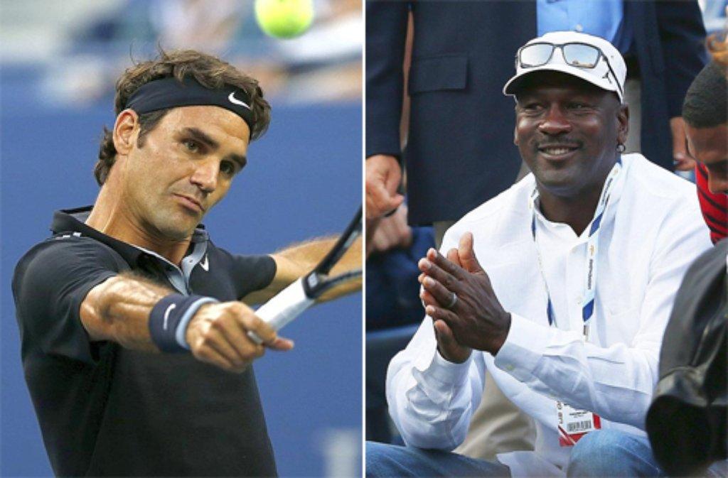 Zu Gast in Roger Federers (links) Box war kein geringerer als die US-amerikanische Basketball-Legende Michael Jordan. Er sah Federers Sieg gegen den Australier Marinko Matosevic (6:3, 6:4, 7:6 (7:4)). Foto: dpa/SIR-Montage