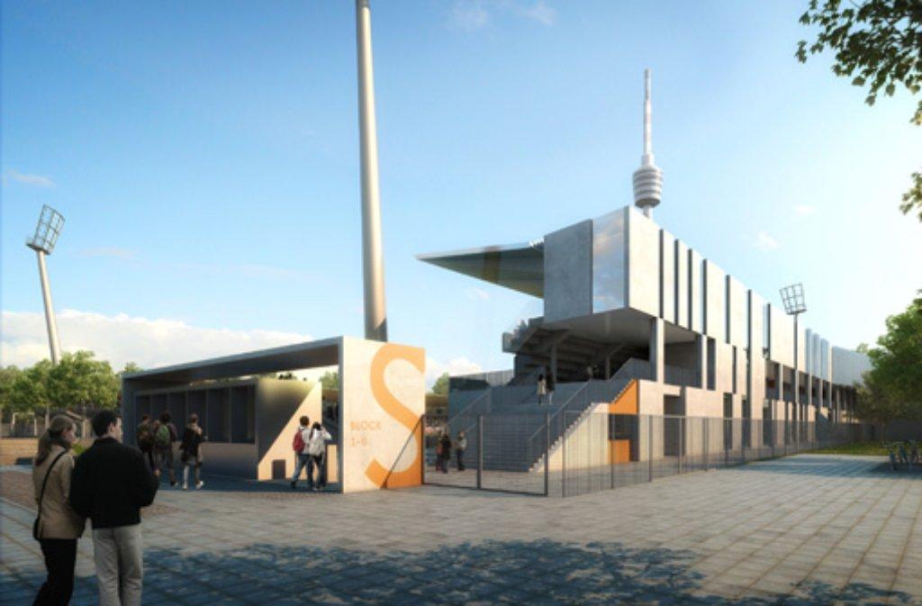 Für 13,8 Millionen Euro wird das Gazi-Stadion auf der Waldau umgebaut. Hier die Pläne für den Eingang West. Foto: Stadt Stuttgart/asp