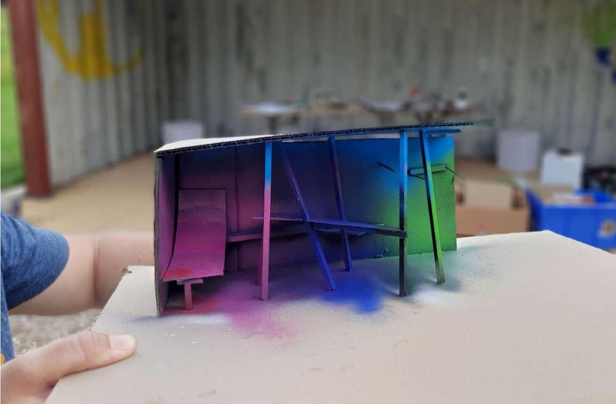 Ein Modell für den Chill-Container für Jugendliche in der Freizeitanlage Längenholz. Entstanden ist es beim Planungstag Anfang Juli. Foto: Stadt Herrenberg