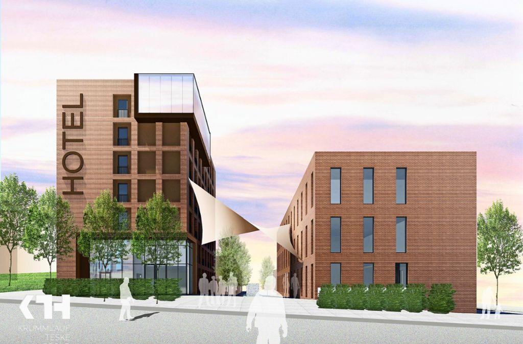Sieben Stockwerke hoch  soll das geplante Hotel mit der Rooftop-Bar werden. Foto: Krummlauf, Teske, Happold Architektengesellschaft