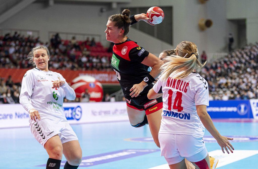 Gegen Serbien verlor die DHB-Auswahl ihr zweites Hauptrundenspiel. Foto: dpa/Marco Wolf