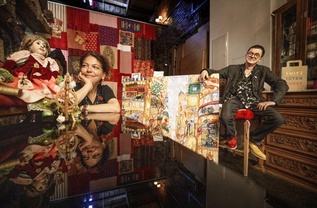 Die Künstler Dada und Thitz präsentieren ihre Werke bei einer Ausstellung in Winterbach. Foto: Gottfried Stoppel