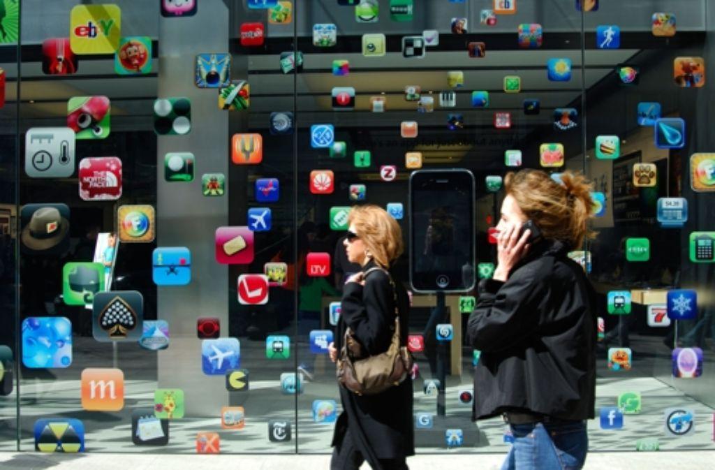 Apps und wieder Apps – hier zu sehen an einem Apple-Geschäft in Boston Foto: Mauritius