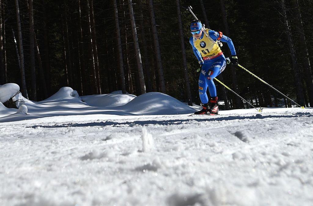 Für weitere sechs Jahre haben sich ARD und ZDF die Übertragungsrechte am Biathlon gesichert. Foto: AFP/MARCO BERTORELLO