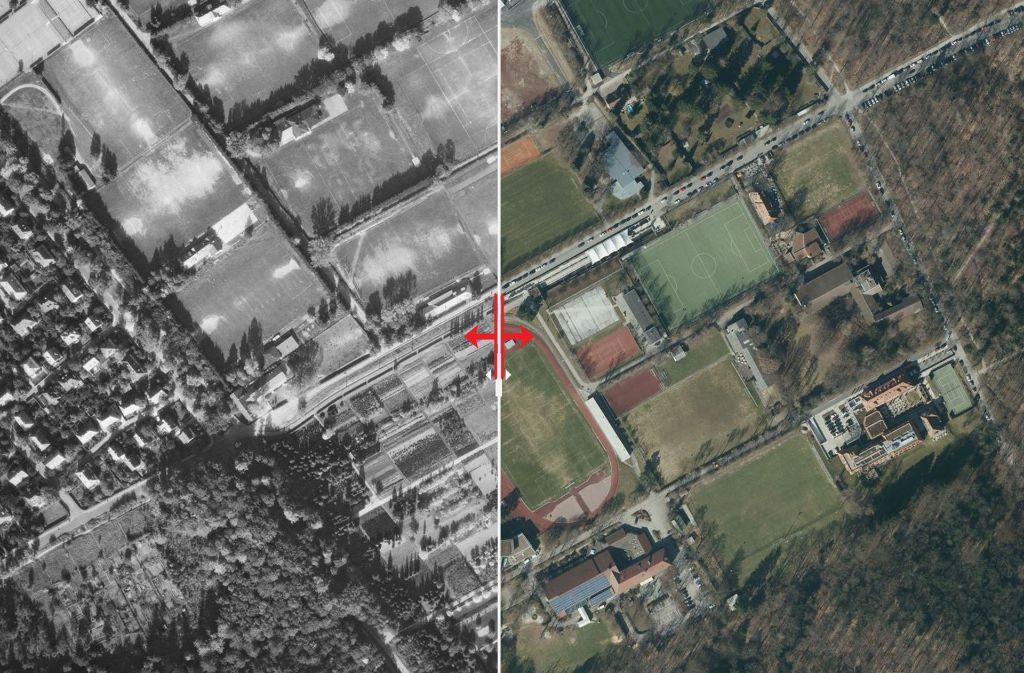 Auf der Waldau wurde 1955 vor allem Fußball gespielt, inzwischen sind Plätze für andere Sportarten hinzugekommen. Foto: Stadtmessungsamt/Plavec