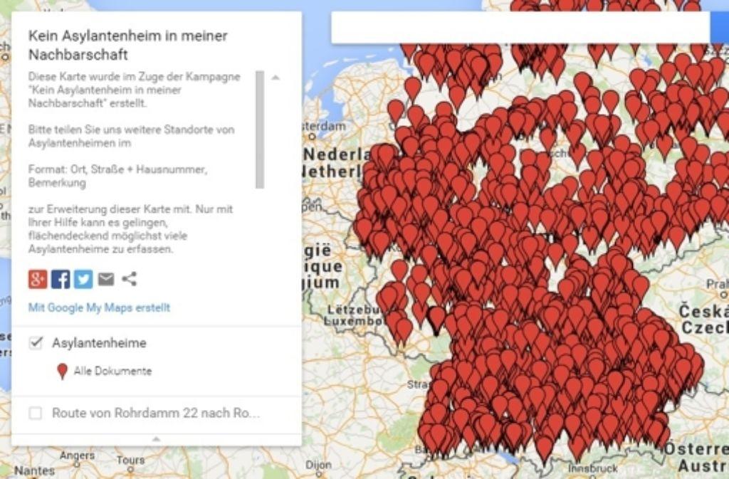 Diese Karte mit den genauen Adressen von Flüchtlingsunterkünften sorgt am Mittwoch und Donnerstag für Furore im Netz. Foto: Google Maps / Screenshot