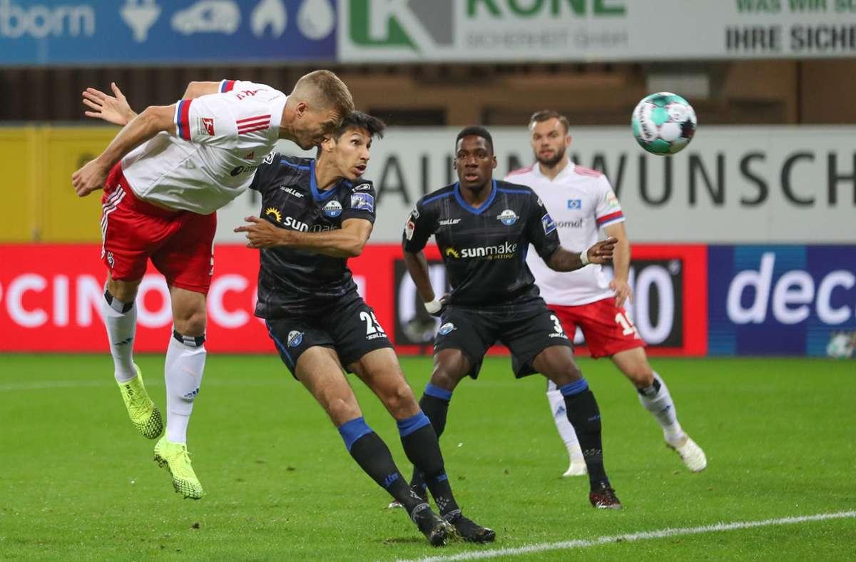 Ex-VfB-Stürmer Simon Terodde trifft in zwei Partien für den Hamburger SV gleich doppelt. Foto: dpa/Friso Gentsch