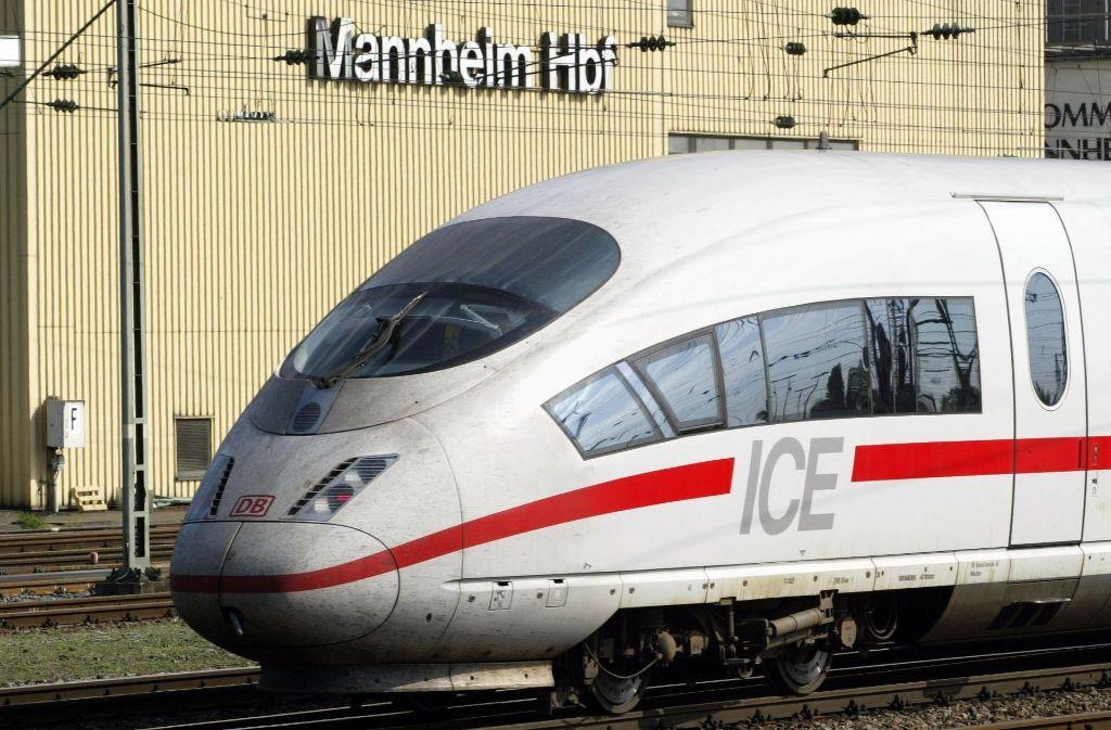 Der ICE benötigt heute 38 Minuten von Stuttgart nach Mannheim. Während der Sanierung der Strecke wird sich die Fahrzeit deutlich erhöhen. Foto: dpa