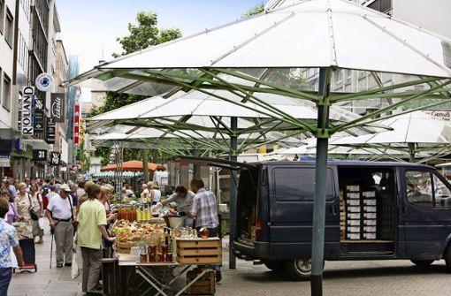Der Wochenmarkt muss auf die Königstraße ziehen