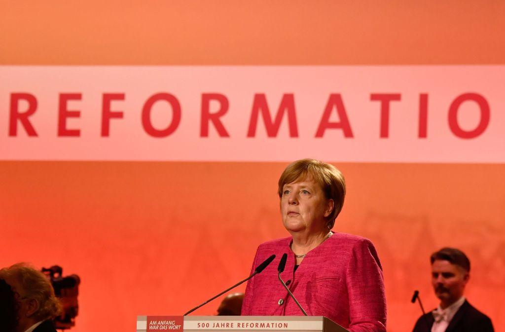"""Über den """"streitbaren Augustinermönch Luther"""" sprach Angela Merkel in Wittenberg. Foto: AFP"""