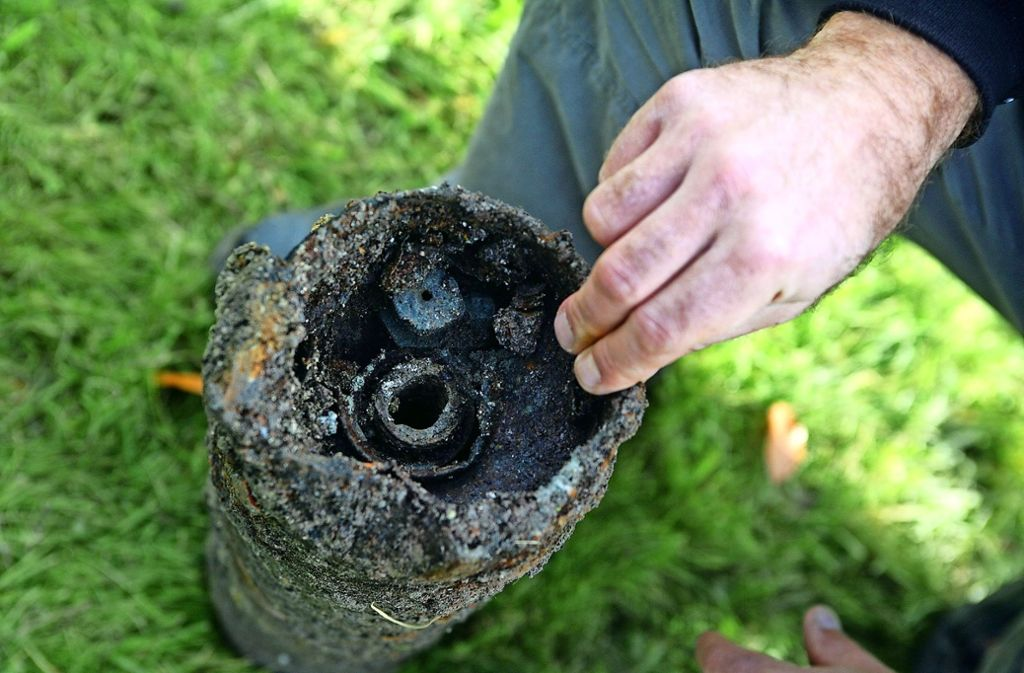 Eine ausgebrannte Flammstrahlbombe (Archivbild) Foto: Achim Zweygarth