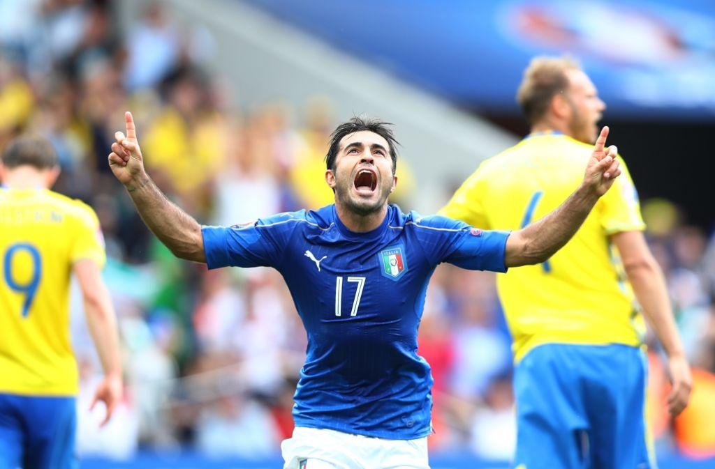 Italiens Eder jubelt über sein Tor gegen Schweden. Foto: Getty