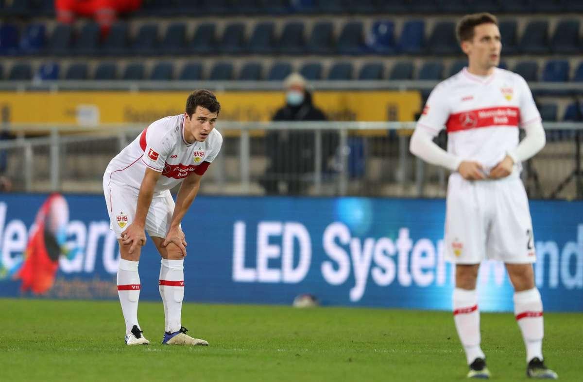 Der VfB hat sein Auswärtsspiel in Bielefeld mit 0:3 verloren. Foto: dpa/Friso Gentsch