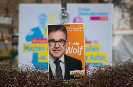 Bei der CDU wackeln viele Direktmandate, wenn die aktuellen Umfragen zutreffen. Die Chancen von Spitzenkandidat Guido Wolf auf das Amt des Ministerpräsidenten sinken dadurch weiter. Foto: dpa