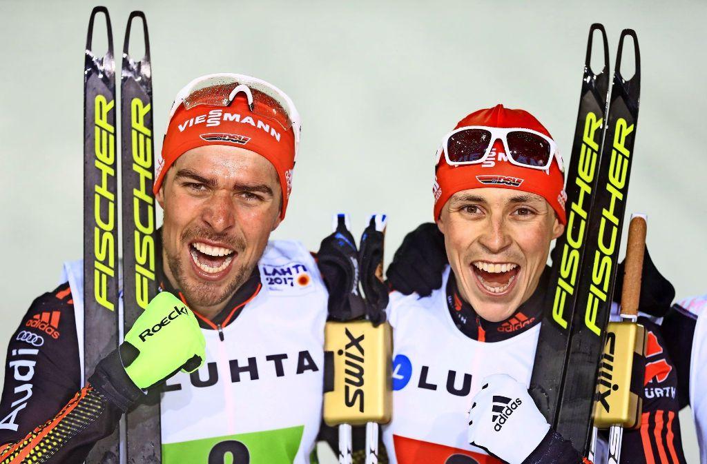 Der große Dominator Johannes Rydezk holt mit Eric Frenzel auch im Teamsprint Gold. Foto: Getty
