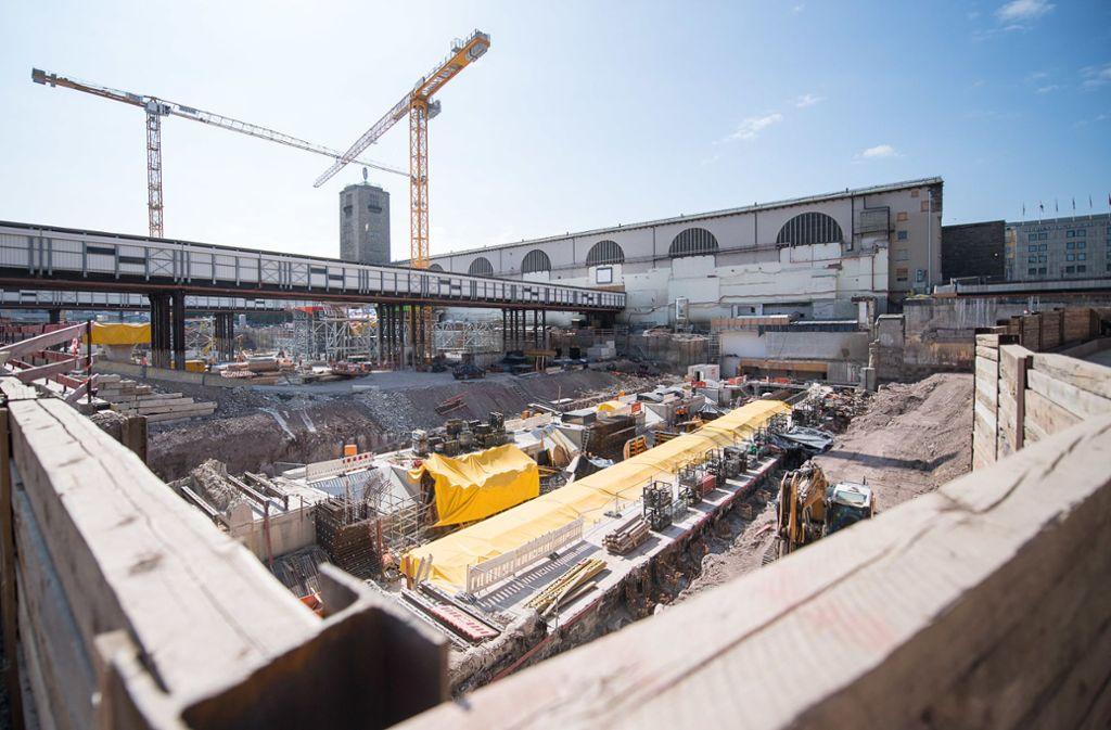 Die Baustelle des Durchgangsbahnhofs von Stuttgart21 in der Innenstadt. Foto: dpa