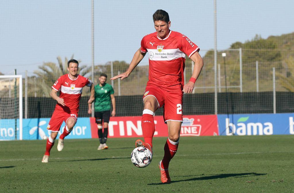 Mario Gomez vom VfB Stuttgart war der beste Spieler gegen Cercle Brügge. Foto: Pressefoto Baumann