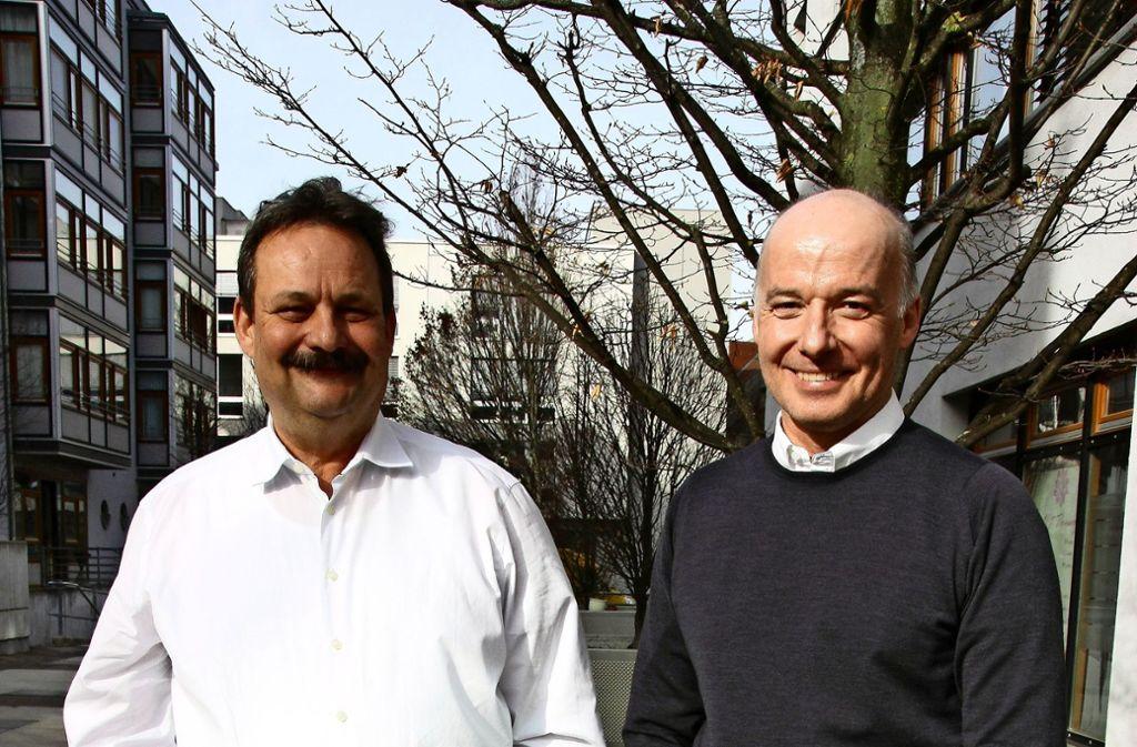 Achim Weinmann (links)  und Ulrich Löchner machen sich für Unteraichen  stark. Foto: Kanter