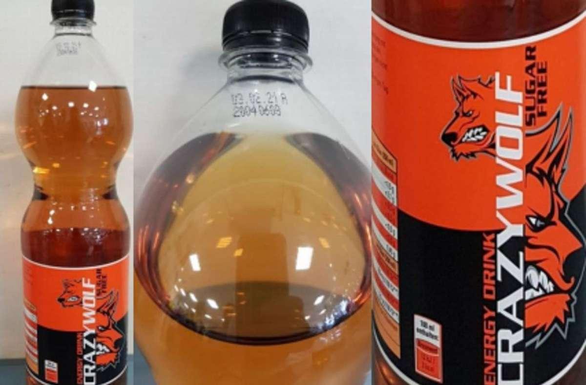"""Betroffen sind die 1,5-Liter-Flaschen von """"Crazy Wolf Sugarfree"""" Foto: Produktbild/lebensmittelwarnung.de"""