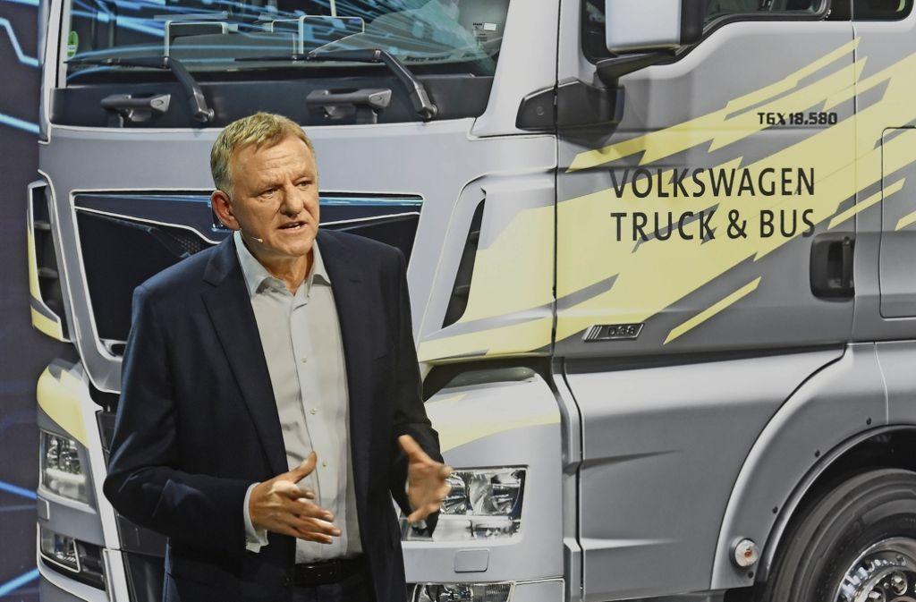 VW-Vorstand Andreas Renschler hat auf der IAA in Hannover erstmals die neue Aufstellung der Nutzfahrzeugsparte vorgestellt. Foto: dpa