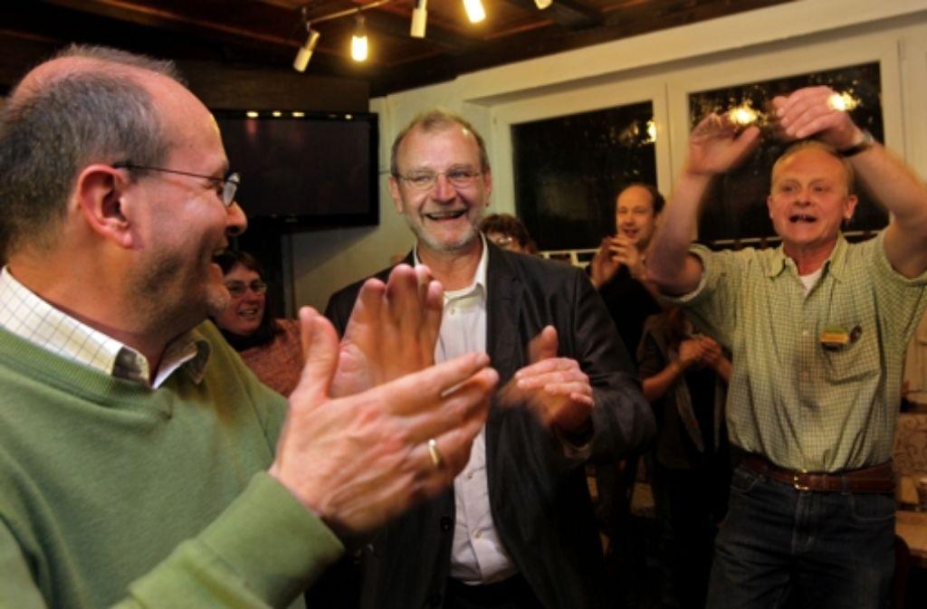 Vor vier Jahren haben die Grünen noch mit ihrem Kandidaten Jörg Fritz (Mitte) gemeinsam gejubelt. Ob der amtierende Landtagsabgeordnete noch einmal antreten darf, ist weiterhin unklar. Foto: Rudel/Regenscheit