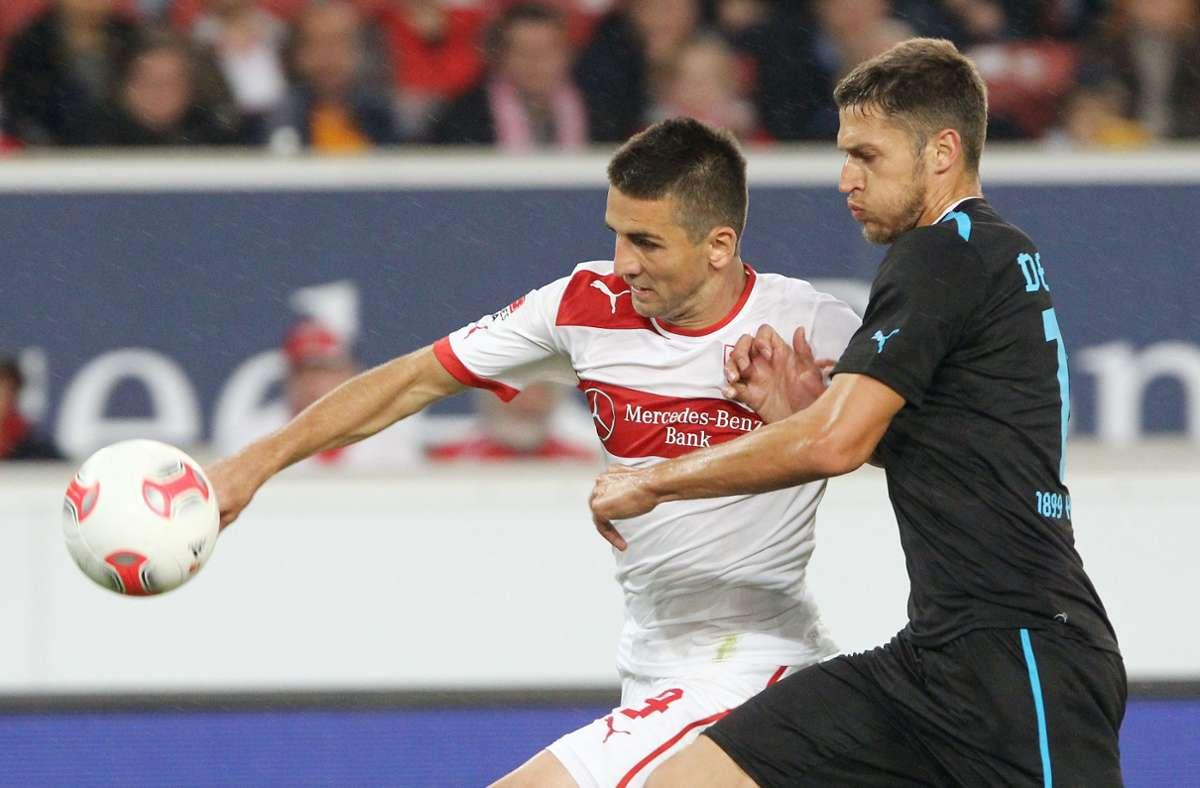 Matthieu Delpierre (rechts) und Vedad Ibisevic spielten beide sowohl für die TSG Hoffenheim als auch für den VfB Stuttgart. Foto: Pressefoto Baumann/Hansjürgen Britsch