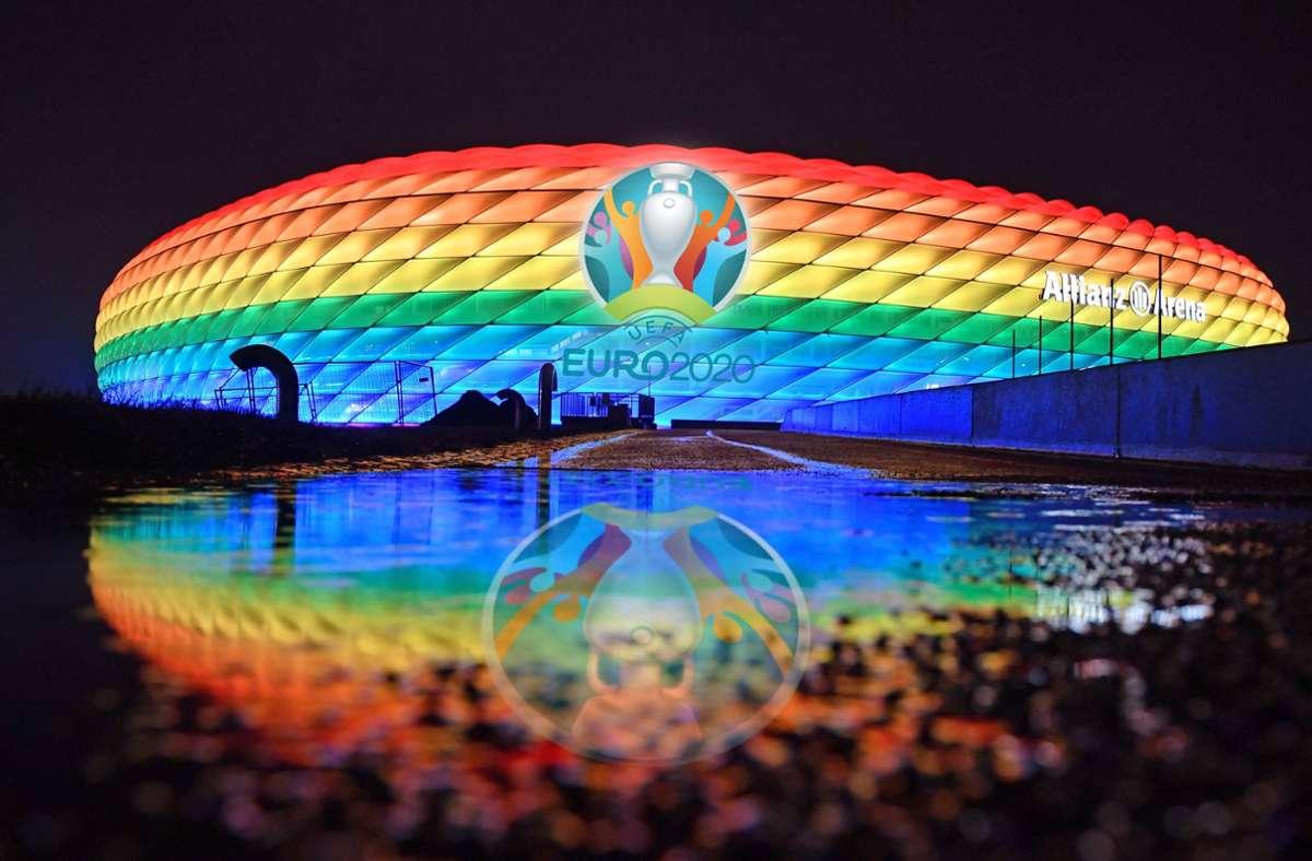 Die Arena in München könnte nächste Woche in Regenbogenfarben erleuchten. Foto: imago images/Sven Simon