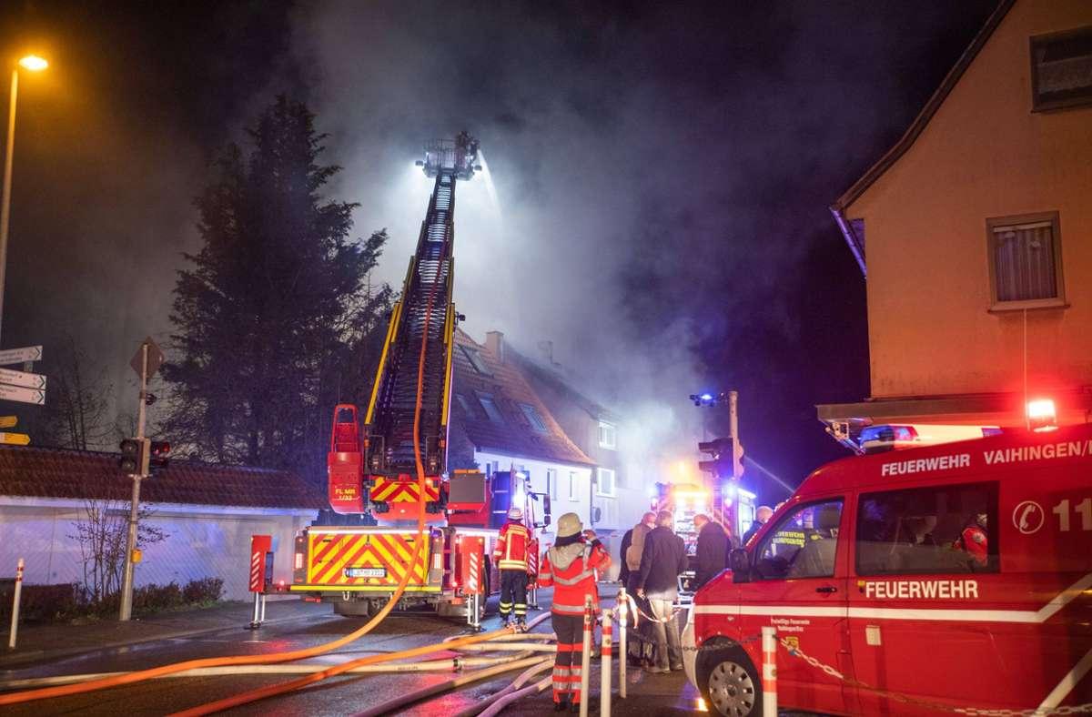 Feuerwehreinsatz in Vaihingen an der Enz in der Nacht auf  Dienstag. Foto: 7aktuell.de/Simon Adomat