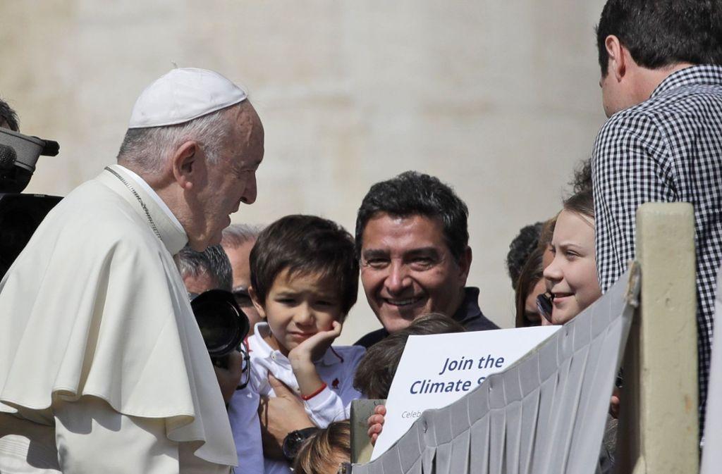 Was sich Papst Franziskus und Greta Thunberg beim Treffen sagten, ist bislang noch nicht bekannt. Foto: AP