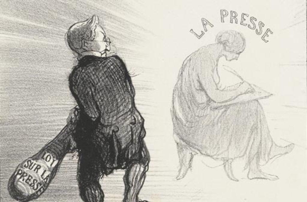J.-J. Grandville, Eugène Hippolyte Forest: Die Auferstehung der Zensur (Ausschnitt). Foto: Staatsgalerie Stuttgart