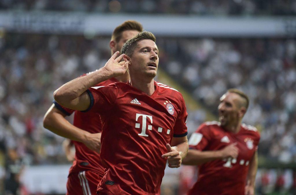 Bayern-Stürmer Robert Lewandowski: Der Bayern-Stürmer hatte mit Widrigkeiten zu kämpfen und rächt sich mit drei Treffern. Foto: dpa