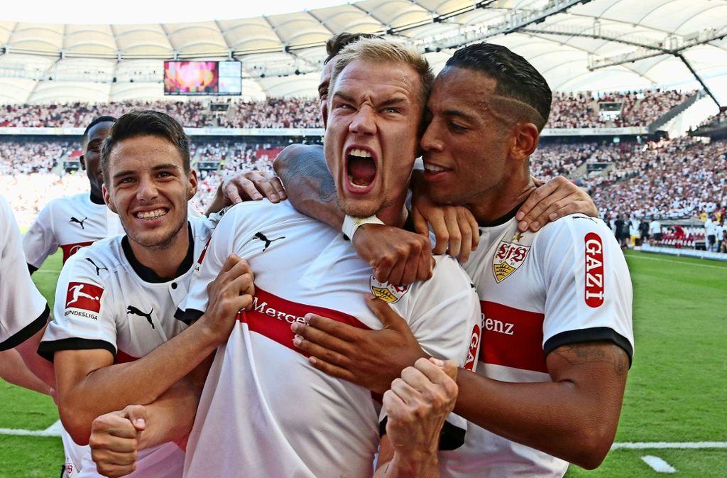 So jubelte Holger Badstuber vor einem Jahr – als er den VfB gegen Mainz zum 1:0-Sieg köpfte. Foto: Baumann
