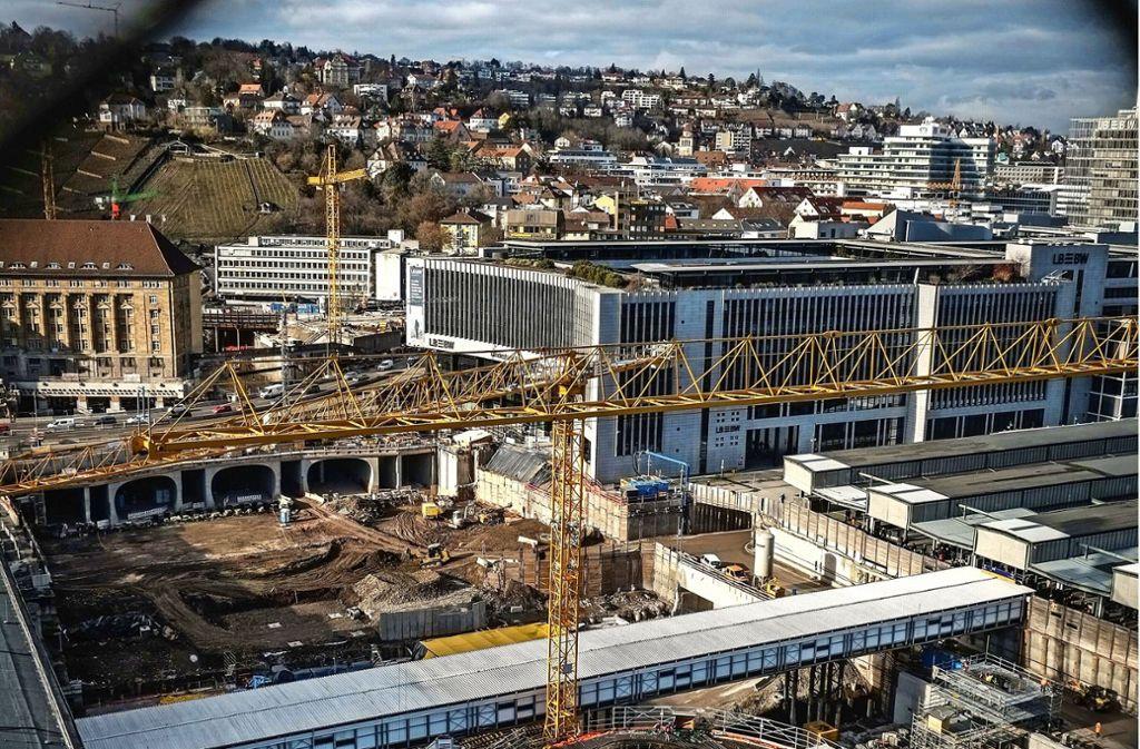 S21-Baustelle am Hauptbahnhof. Foto: Lg