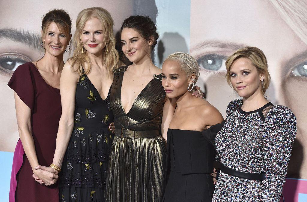 Laura Dern, Nicole Kidman, Shailene Woodley, Zoe Kravitz and Reese Witherspoon (v.l.n.r.) feiern in Los Angeles gemeinsam die Premiere ihrer neuen Serie.  Foto: AP