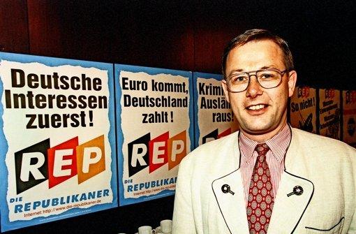 Der alte Rechtspopulismus: Rolf Schlierer, einst Fraktionschef der Rep im  Landtag, Ende der 90er Jahre. Foto: dpa