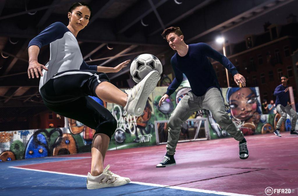 """In """"Volta"""" stellt man seine eigene Straßenfußballmannschaft zusammen und kickt auf unterschiedlichen Plätzen und in unterschiedlichen Konstellationen. Foto: EA Sports"""