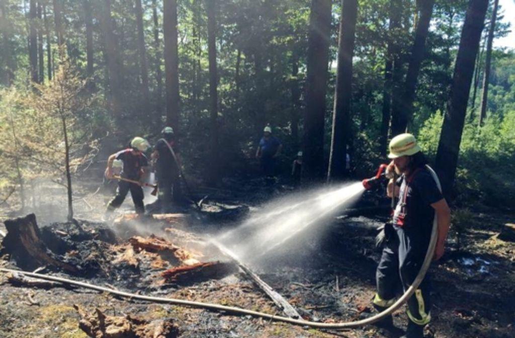Im  Bereich der Federlesmahd hatte die Feuerwehr am Dienstag und Mittwoch zwei Feuer zu löschen. Die Brandgefahr im Wald ist weiterhin groß. Foto: Feuerwehr Leinfelden-Echterdingen