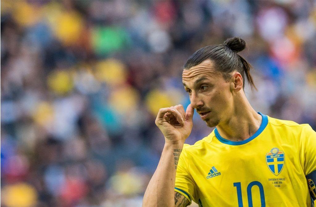 Zlatan Ibrahimovic stürmt bei der Fußball-EM für Schweden. Foto: AFP