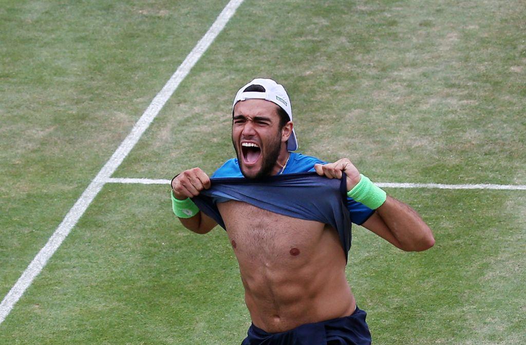 Emotion pur beim Turniersieger Berrettini nach dem verwandelten Matchball. Foto: Baumann