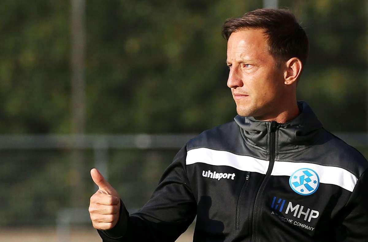 Verlängerte seinen Vertrag bis 2023: Kickers-Trainer Ramon Gehrmann. Foto: Baumann