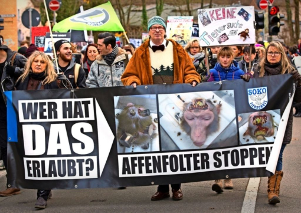 Tierschützer demonstrieren kurz vor Weihnachten in Tübingen gegen den Einsatz von Affen in der Forschung. Foto: dpa