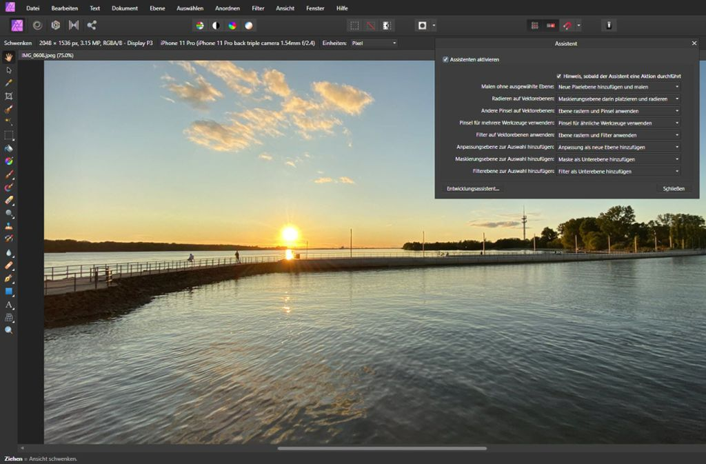 """Mit dem Programm """"Affinity Photo"""" kann man Bilder intuitiv bearbeiten. Foto: Screenshot/Hersteller"""