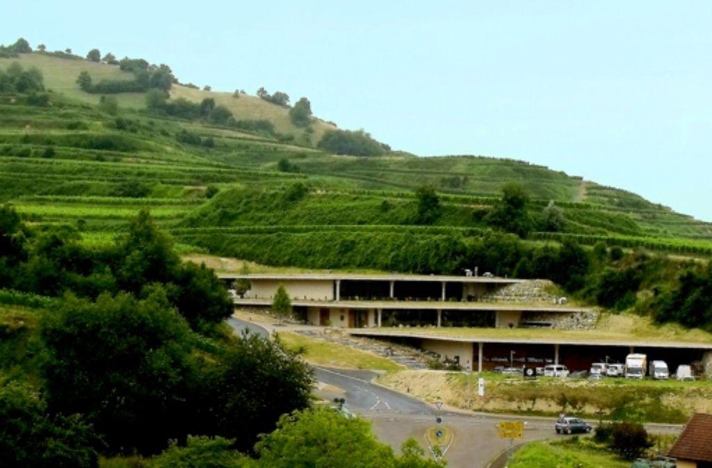 Wenn die Dachflächen des dreigeschossigen Baus dicht bewachsen sind, wird das neue Weingut Keller sich harmonisch in die Landschaft einfügen. Foto: Siebold