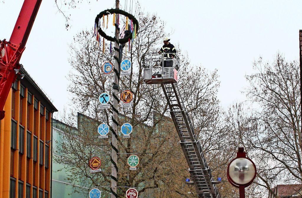 Der Maibaum auf dem Rathausplatz. Foto: J. Fritsch