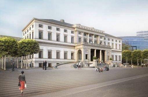Der Architekt Arno Lederer will das künftige Stadtmuseum im Wilhelmspalais mit einer breiten Treppe zur Kulturmeile hin öffnen. Illustration: www.renderstueble.de
