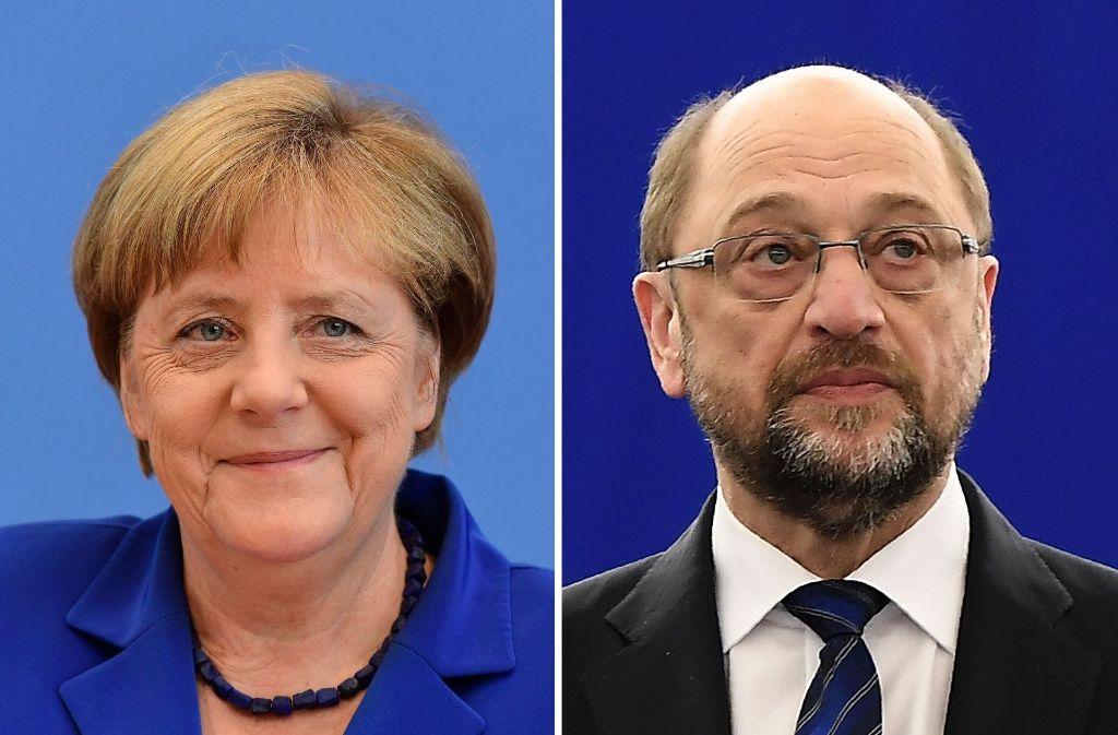 Sie treten als Spitzenkandidaten ihrer Parteien zur Bundestagswahl im Herbst an: Angela Merkel (CDU) und Martin Schulz (SPD). Foto: AFP