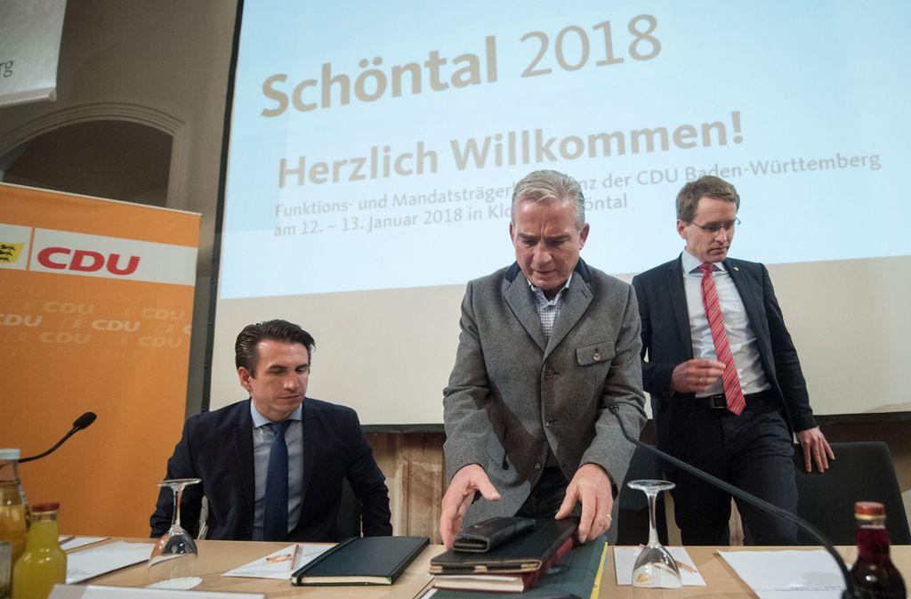 Thomas Strobl am Samstag beim Abschluss der Klausur seiner Partei im Kloster in Schöntal. Foto: dpa