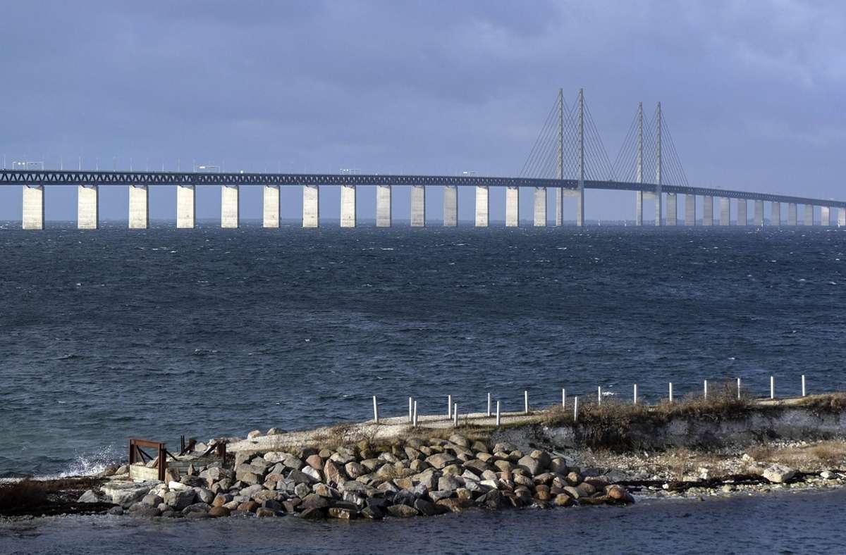 Die Öresundbrücke zwischen Malmö und Kopenhagen, aufgenommen von der schwedischen Seite. Foto: dpa/Erland Vinberg